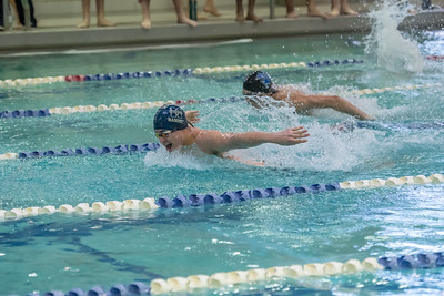 1/20/2018 - Juancarlos Ramirez (Magruder) ahead of Noah Ferguson (Blake) in the 200 yard IM, Blake v Magruder Swim & Dive, ©2018 Jacqui South Photography