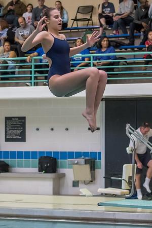 1/20/2018 - Blake Posada (Magruder) dives a back dive,  Blake v Magruder Swim & Dive, ©2018 Jacqui South Photography