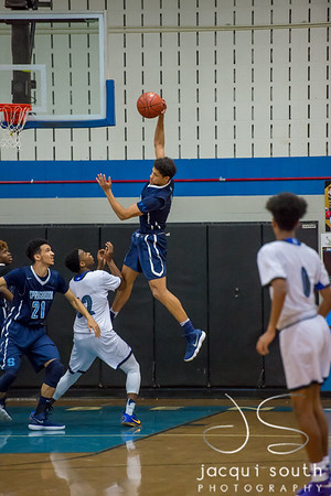 2/16/2018 - Matt Balanc (1) brings down a defensive rebound in the 1st quarter, Springbrook v Blake Boys Basketball, ©2018 Jacqui South Photography
