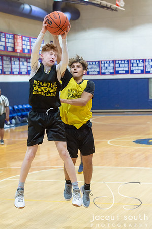 6/19/2018 - Richard Montgomery guard Ryan Cornish (3) outrebounds Magruder's Austin Crandall (5) in the Maryland Elite summer league, Richard Montgomery v Magruder, ©2018 Jacqui South Photography