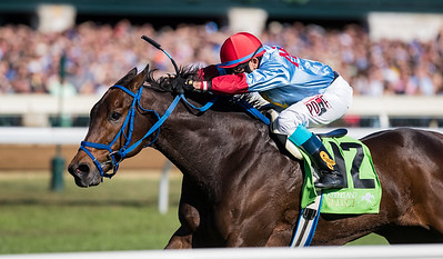 Mongolian Saturday (Any Given Saturday) wins the Woodford (G3) at Keeneland on 10.8.2016. Carlos Montalvo up, Enebish Ganbat trainer, Mongolian Stable owner.