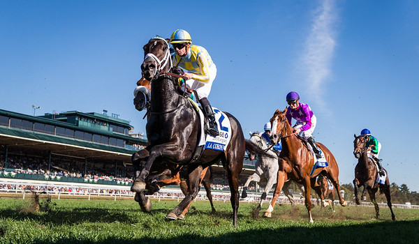 La Coronel (Colonel John) wins the JPMorgan Chase Jessamine (G3) at Keeneland on 10.12.2016. Florent Geroux up, Mark Casse trainer, John Oxley owner.