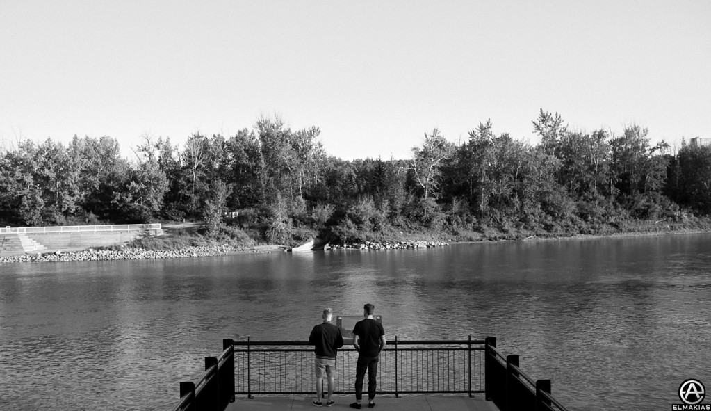 Neil and Josh overlooking a lake