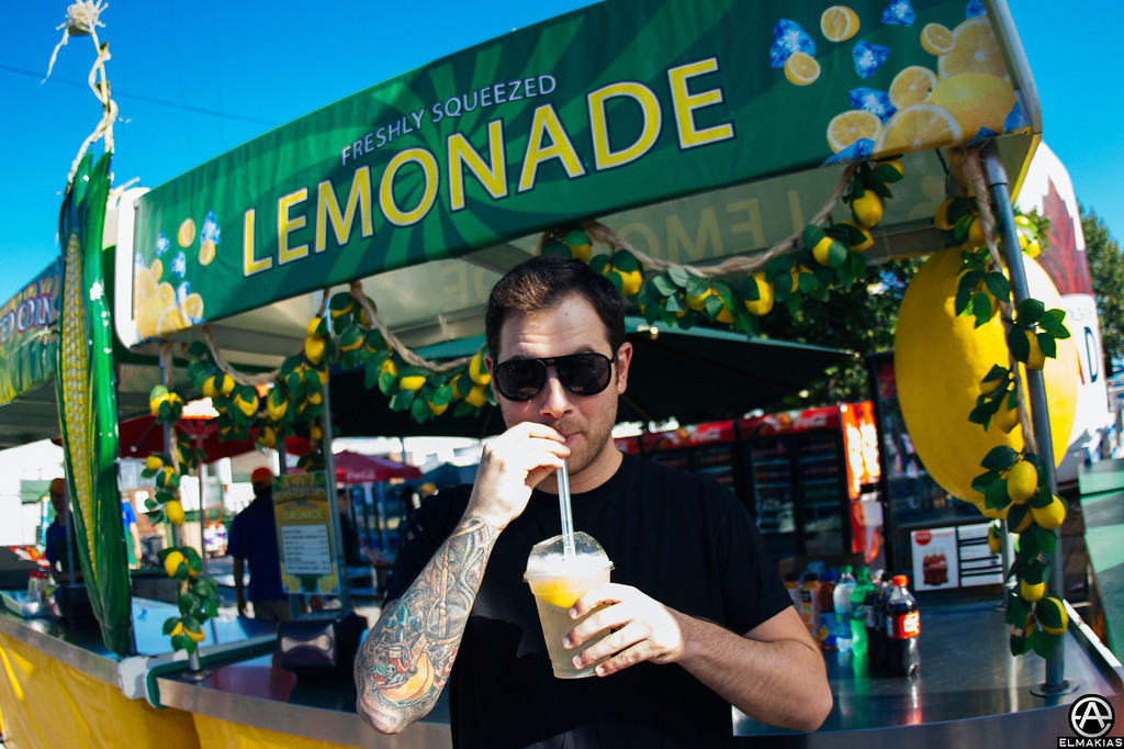 Kevin enjoying a cup of freshly squeezed lemonade