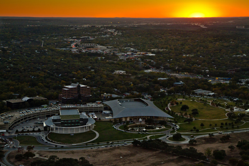 Looking over the Long Center at sunset