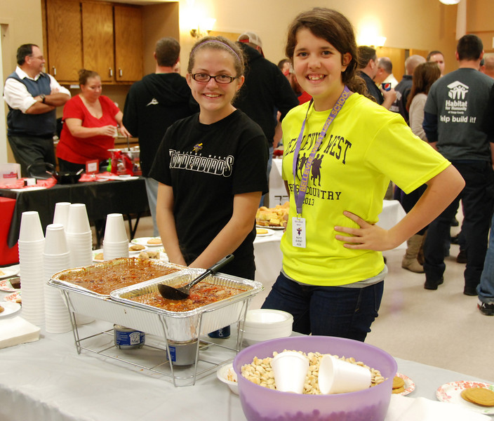 Bellevue West students served chili and lots of desserts.