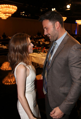 From left, actress Anna Kendrick talks to Ben Affleck, Career Achievement Award winner during the 2012 Casting Society of America Artios Awards held at the Beverly Hilton Hotel on Monday Oct. 29, 2012 in Beverly Hills, Calif. (Photo by Ryan Miller/Capture Imaging)
