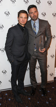 From left, actors Jeremy Renner and Ben Affleck, Career Achievement Award winner, pose backstage during the 2012 Casting Society of America Artios Awards held at the Beverly Hilton Hotel on Monday Oct. 29, 2012 in Beverly Hills, Calif. (Photo by Ryan Miller/Capture Imaging)