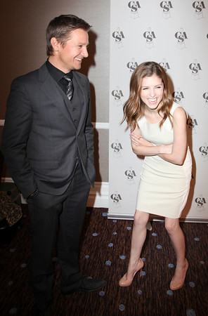 From left, actors Jeremy Renner and Anna Kendrick celebrate backstage during the 2012 Casting Society of America Artios Awards held at the Beverly Hilton Hotel on Monday Oct. 29, 2012 in Beverly Hills, Calif. (Photo by Ryan Miller/Capture Imaging)