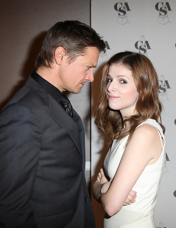 From left, actors Jeremy Renner and Anna Kendrick pose backstage during the 2012 Casting Society of America Artios Awards held at the Beverly Hilton Hotel on Monday Oct. 29, 2012 in Beverly Hills, Calif. (Photo by Ryan Miller/Capture Imaging)