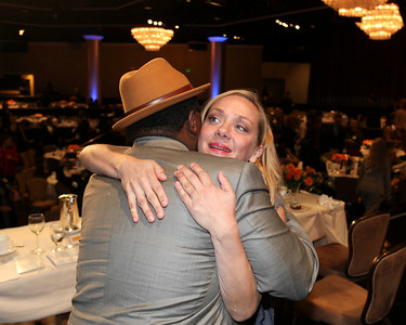 From left, Cedric the Entertainer hugs host Nicole Sullivan during the 2012 Casting Society of America Artios Awards held at the Beverly Hilton Hotel on Monday Oct. 29, 2012 in Beverly Hills, Calif. (Photo by Ryan Miller/Capture Imaging)