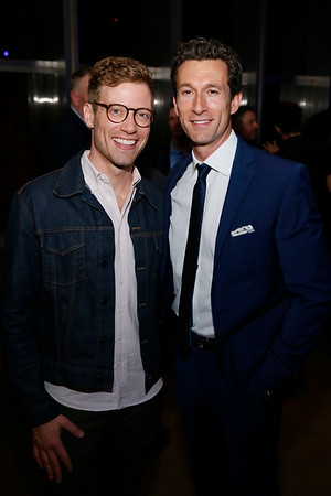"From left, actor Barrett Foa and cast member Aaron Lazar at the party for the opening night performance of ""Dear Evan Hansen"" at Center Theatre Group/Ahmanson Theatre on October 19, 2018, in Los Angeles, California. (Photo by Ryan Miller/Capture Imaging)"