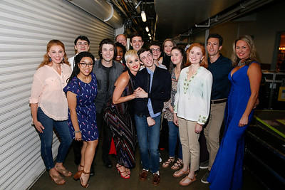 "Singer Katy Perry with the company of ""Dear Evan Hansen"" backstage after the opening night performance at Center Theatre Group/Ahmanson Theatre on October 19, 2018, in Los Angeles, California. (Photo by Ryan Miller/Capture Imaging)"
