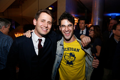 "From left, composer/lyricist Benj Pasek and actor Darren Criss at the party for the opening night performance of ""Dear Evan Hansen"" at Center Theatre Group/Ahmanson Theatre on October 19, 2018, in Los Angeles, California. (Photo by Ryan Miller/Capture Imaging)"