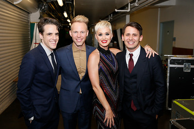"From left, book writer Steven Levenson, composer/lyricist Justin Paul, singer Katy Perry and composer/lyricist Benj Pasek backstage after the opening night performance of ""Dear Evan Hansen"" at Center Theatre Group/Ahmanson Theatre on October 19, 2018, in Los Angeles, California. (Photo by Ryan Miller/Capture Imaging)"
