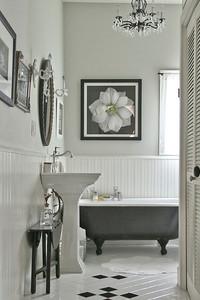 guest bathroom with original claw foot bathtub