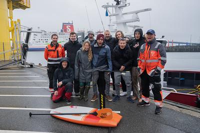 Casper Steinfath hydrofoiling across Kattegat from Denmark to Sweden.