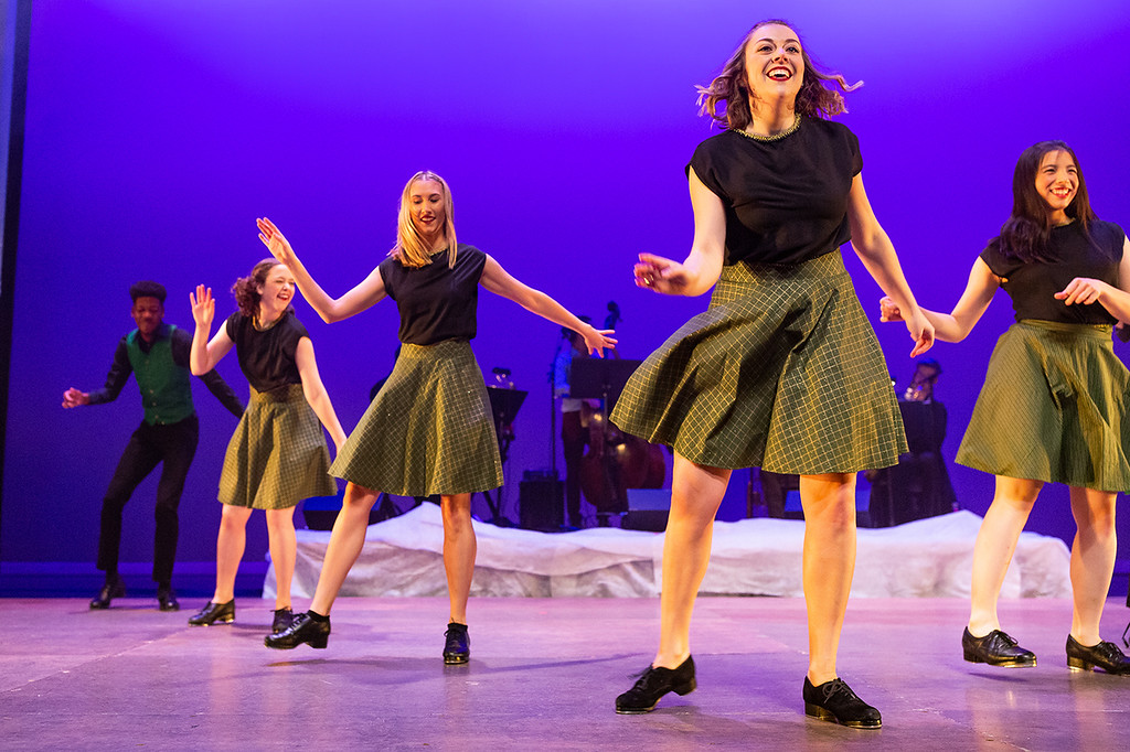"Members of the Chicago Tap Theatre perform in their annual ""Tidings of Tap!"" show at the Northshore Center for the Performing Arts in Skokie, IL on Sunday, Dec. 9, 2018. (David Harmantas/Chicago Tap Theatre)"