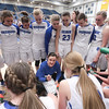 Fremont head coach Lisa Dalebout guides her team in a huddle as they battle Westlake during the UHSAA 6A Girls State Basketball Tournament on Friday, Feb. 23, 2018, at Salt Lake Community College in Taylorsville. Fremont went on to defeat Westlake, 54-50, in overtime.