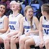 From left to right, Fremont's Abby Broadbent (12), Berkley Larsen (30), Halle Duft (2) and Daycee Townsend (14) react on the bench in the second half of play against Hunter during the UHSAA 6A Girls State Basketball Tournament on Tuesday, Feb. 20, 2018, at Salt Lake Community College in Taylorsville. Fremont went on to defeat Hunter, 58-20.