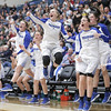 Fremont players celebrate after a play in the second half against Westlake during the UHSAA 6A Girls State Basketball Tournament on Friday, Feb. 23, 2018, at Salt Lake Community College in Taylorsville. Fremont went on to defeat Westlake, 54-50, in overtime.