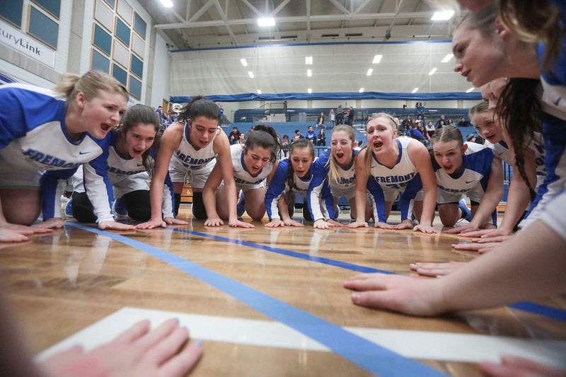 Fremont players prepare to play Riverton during the UHSAA 6A Girls State Basketball Tournament on Thursday, Feb. 22, 2018, at Salt Lake Community College in Taylorsville. Fremont went on to defeat Riverton, 48-46.