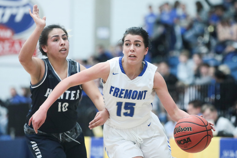 Fremont's Mazzie Melaney (15) drives down the court while guarded by Hunter's Gabby Cuevas during the first half of the UHSAA 6A Girls State Basketball Tournament on Tuesday, Feb. 20, 2018, at Salt Lake Community College in Taylorsville. Fremont went on to defeat Hunter, 58-20.