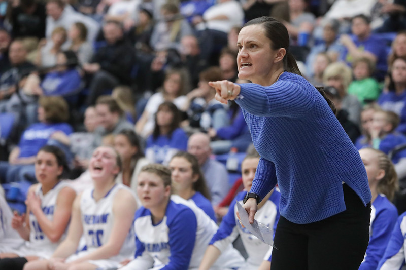 Fremont head coach Lisa Dalebout guides her team in the second half against Westlake during the UHSAA 6A Girls State Basketball Tournament on Friday, Feb. 23, 2018, at Salt Lake Community College in Taylorsville. Fremont went on to defeat Westlake, 54-50, in overtime.