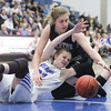 Fremont's Haylee Doxey and Riverton's Morgan Kane (33) battle for possession of the ball in the first half of the UHSAA 6A Girls State Basketball Tournament on Thursday, Feb. 22, 2018, at Salt Lake Community College in Taylorsville. Fremont went on to defeat Riverton, 48-46.