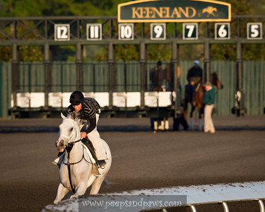 Hansen does some gate schooling and goes for a gallop around the Keeneland track on 4.13.2012