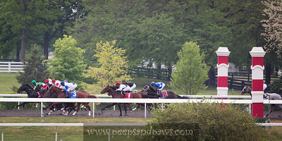Near the start of a race at Keeneland on the backside of the track.