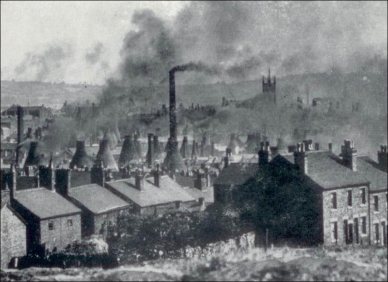 Longton potteries - a scene straight out of a Dickens novel - by A W J  Blake c 1895