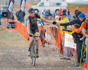 Ryan Trebon (LTS) celebrates his win with his fans as he comes across the finishline.