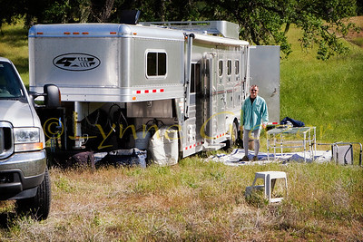 Multi day rides have many of the large living quarters goosenecks pulled by diesel pickups or even Freightliners.  Most riders began with a two horse and a tent, and leveraged their way up as the addiction took hold.