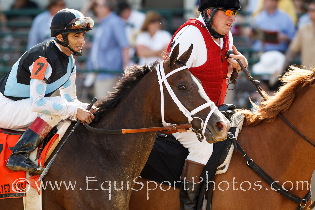 In Lingerie (Empire Maker), John Velazquez up, wins the Black-eyed Susan Stakes at Pimlico 5.18.2012. Trainer: Todd Pletcher, Owner: Eclipse Thoroughbred Partners and Gary Barber.