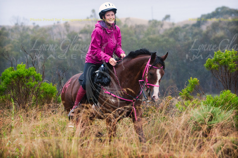 Erin Strand's daughter, Montaña de Oro, braving the rain.
