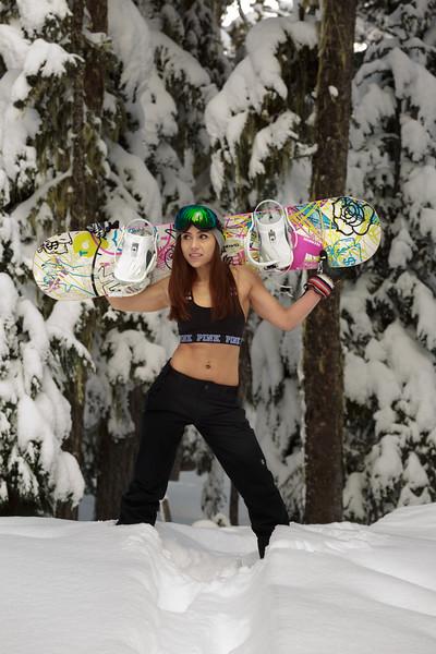 Image of female snowboarder