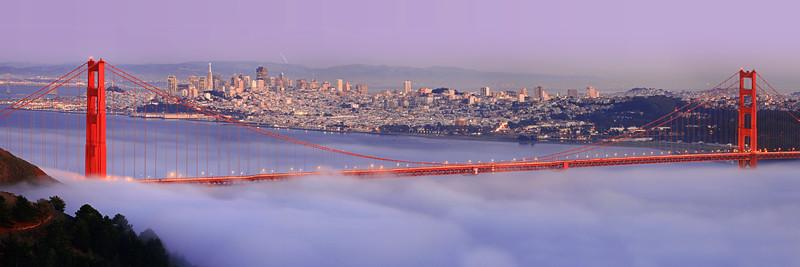 Golden Gate Bridge Violet Twilight