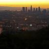 Sunrise over the Los Angeles city skyline