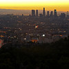 Sunrise over the Los Angeles city skyline