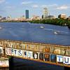 View of Boston skyline with Boston University Bridge and Charles River