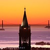Beautiful sunset view of the Campanile, or Sather Tower, at the University of California at Berkeley at sunset.