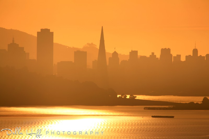 Silhouette of the San Francisco skyline from the East Bay hills
