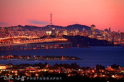 Sunset over the San Francisco skyline from the Berkeley Hills, California