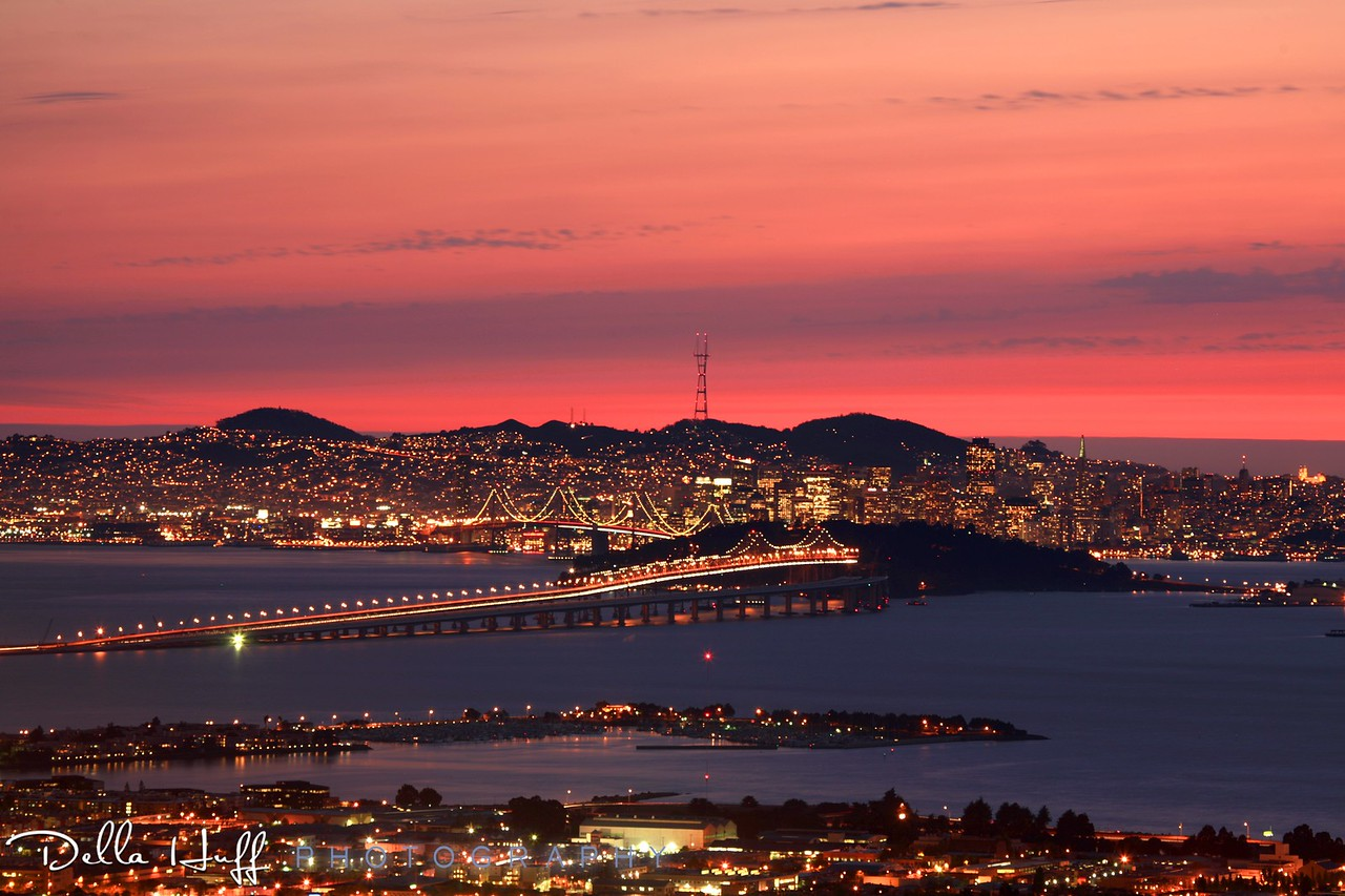 Stunning Sunset over the San Francisco skyline from the Berkeley Hills, California
