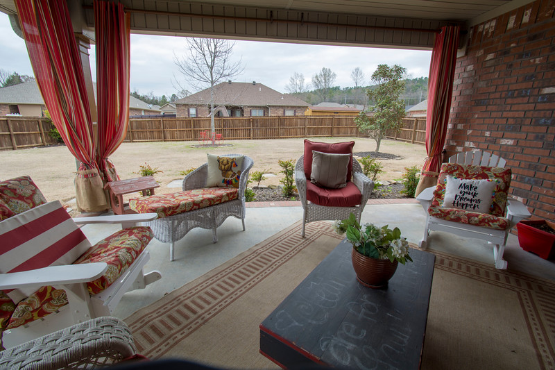 Patio with large yard