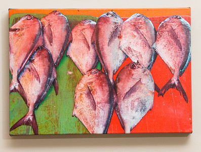 "SALE DETAILS:   11x16 Gallery Wrapped Canvas (1 1/2"" deep)                             ***One of a set of four food images                             $40 for one, or $120 for all four (does not include sales tax or shipping).  Original price:           $150/each  IMAGE DETAILS: 031608-06 Fish market"