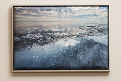 """SALE DETAILS:   13x19 Wrapped Print in Silver Metal Frame (1"""" deep)                             $75 (does not include sales tax or shipping).  Original price: $225  IMAGE DETAILS: 20130118-001 Lake Superior Ice"""