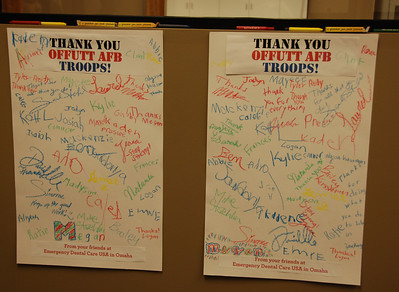 We partnered with Offutt Air Force Base to send candy to units in Afghanistan. We had everyone sign cards for the units. Here's the final result.