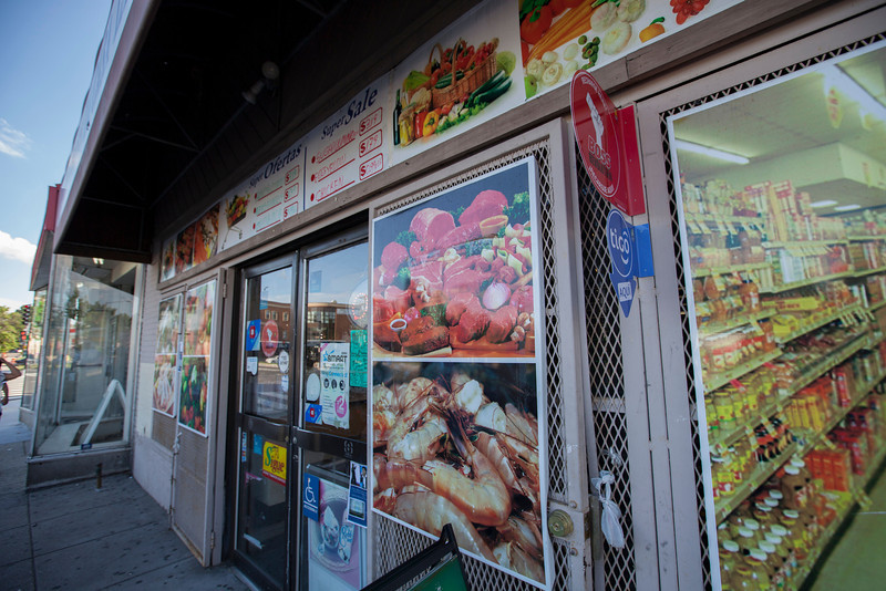 The Society's Urban Photography Series includes guided photo tours of neighborhoods in each of the District's eight wards. The tour of  Brightwood (Ward 4) was led by Pat Tyson. <br /> <br /> PICTURED: Latino grocery store in Brightwood, on Georgia Avenue NW.<br /> <br /> Shot 6/29/2013. Credit: Anne McDonough, © Historical Society of Washington, D.C.